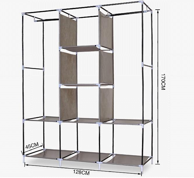 Tủ vải cao cấp mẫu mới 3 buồng 8 ngăn