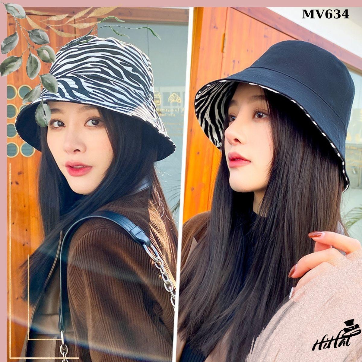 Mũ vành nữ thời trang, nón vành rộng họa tiết sọc 2 mặt tiện lợi