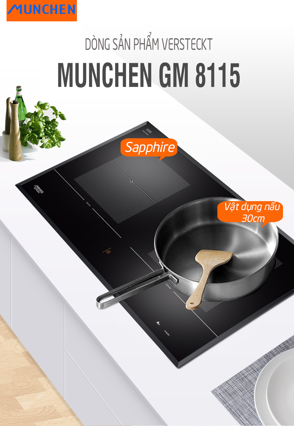 Bếp từ Munchen GM8115 giao diện đẹp