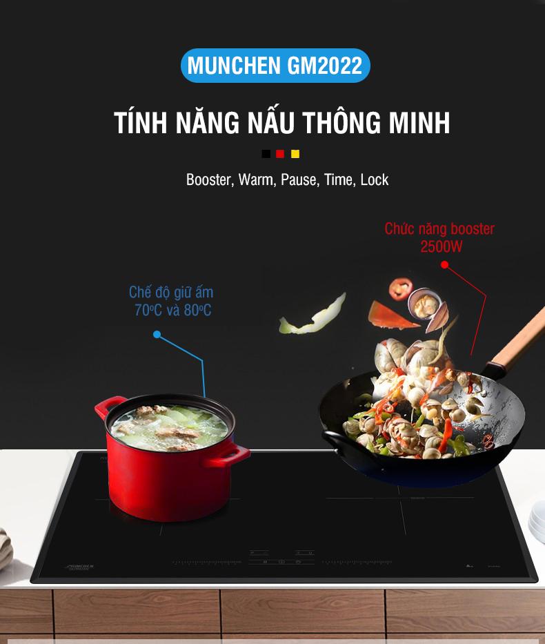 Bếp từ Munchen GM2022 tính năng đun nấu thông minh