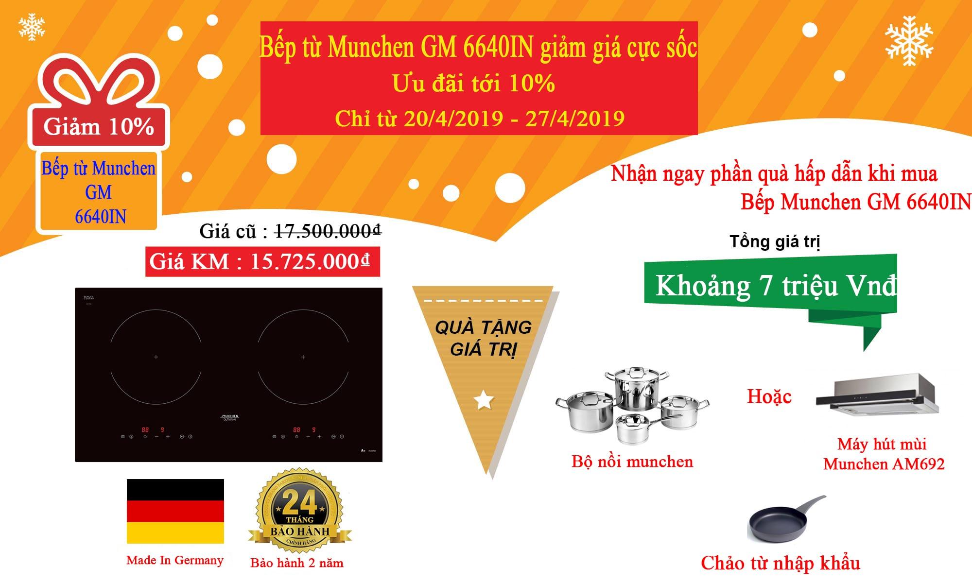 Bếp từ Munchen GM 6640IN giảm giá cực sốc, ưu đãi chỉ trong vài ngày