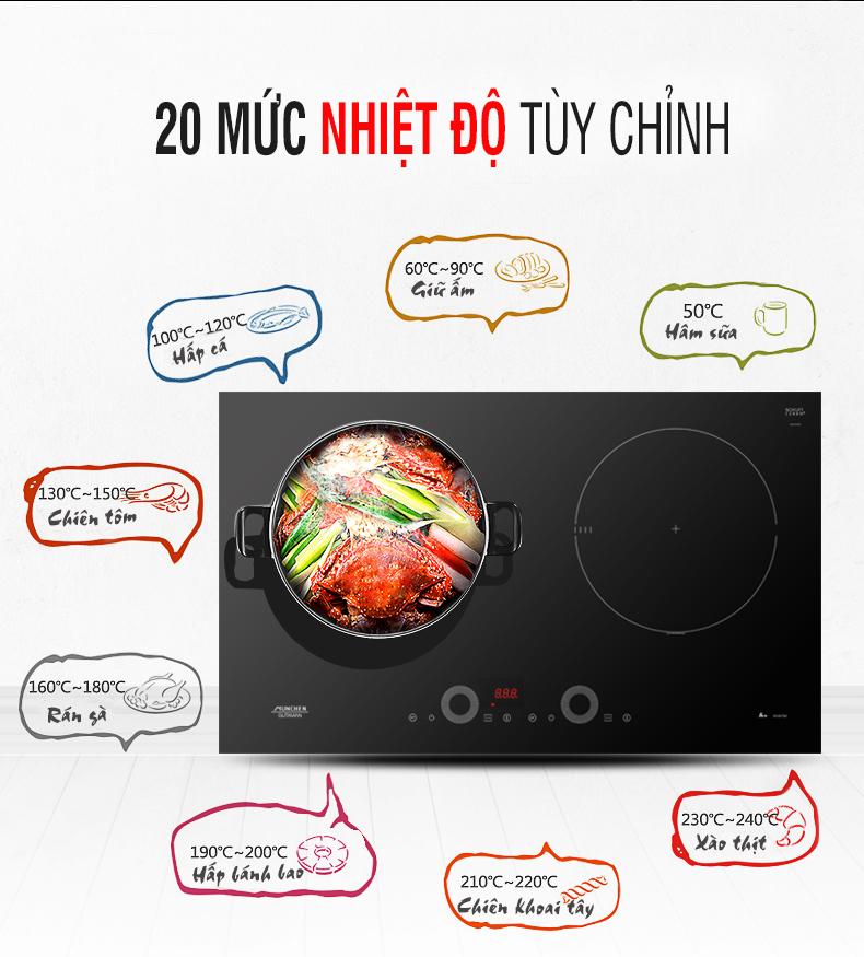 20 mức nhiệt độ tuỳ chỉnh của bếp từ Munchen G60 BK ứng với các món ăn