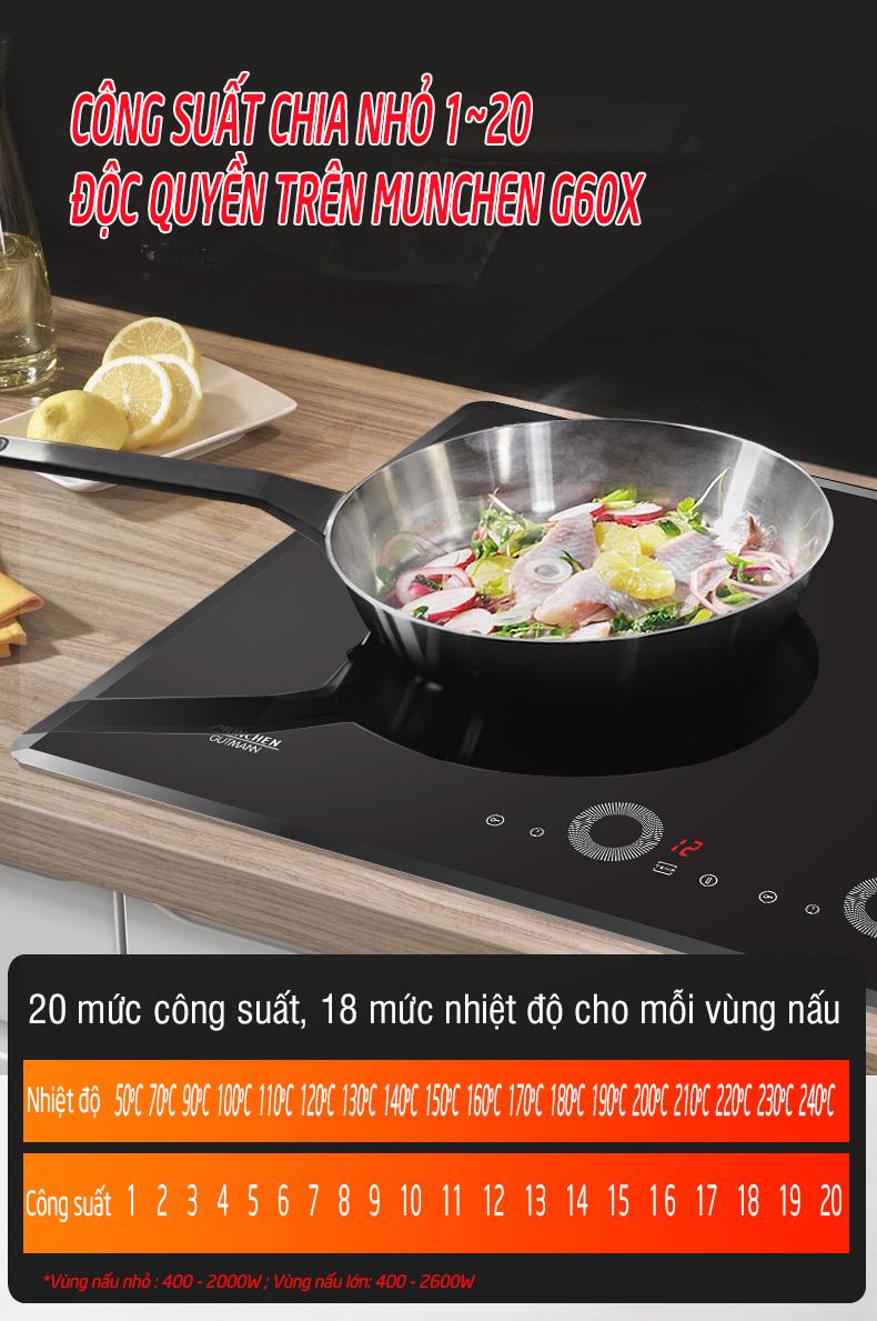 20 mức công suất độc quyền trên bếp từ munchen g60x