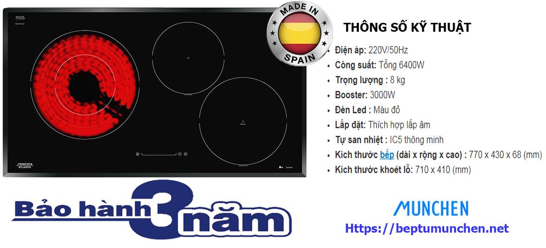 Thông số bếp điện từ Munchen GM 6318X