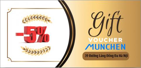 Tặng Voucher -5% cho khách hàng thành viên Munchen