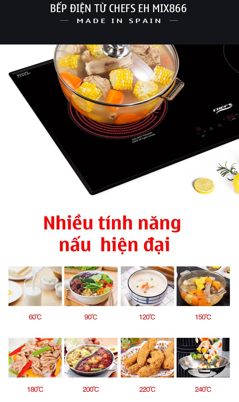 Bếp điện từ Chefs EH MIX866 nhập khẩu Tây Ban Nha
