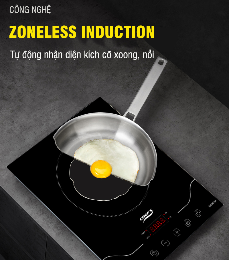 Công nghệ zoneless induction của bếp từ chefs EH IH22A