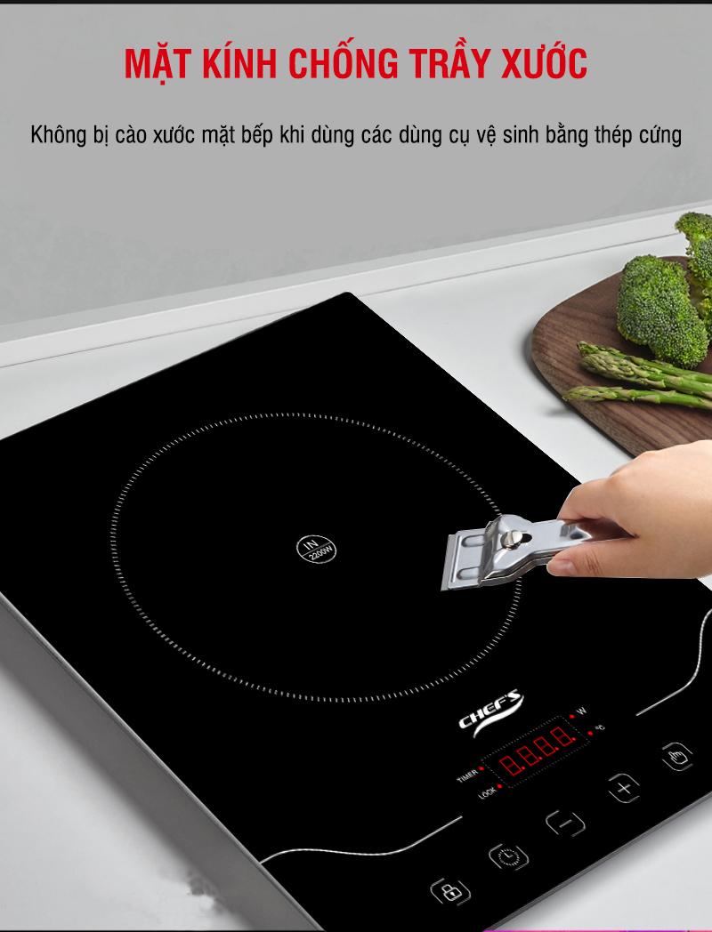 Mặt kính chống trầy xước của bếp từ chefs EH IH22A
