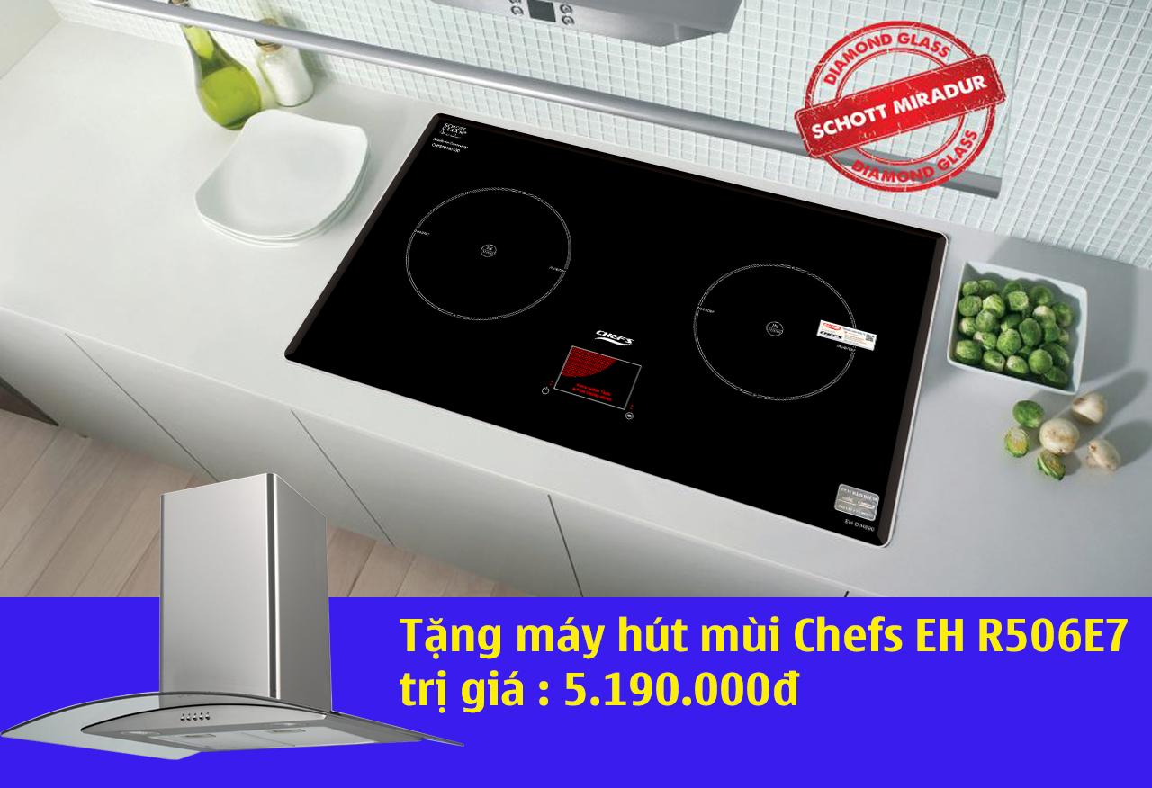 mua bếp từ chefs eh dih890 tặng máy hút mùi kính cong