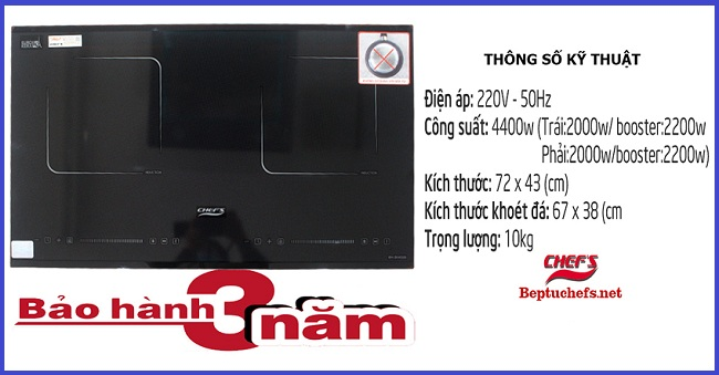 Chi tiết thông số kỹ thuật của bếp từ Chefs EH DIH320