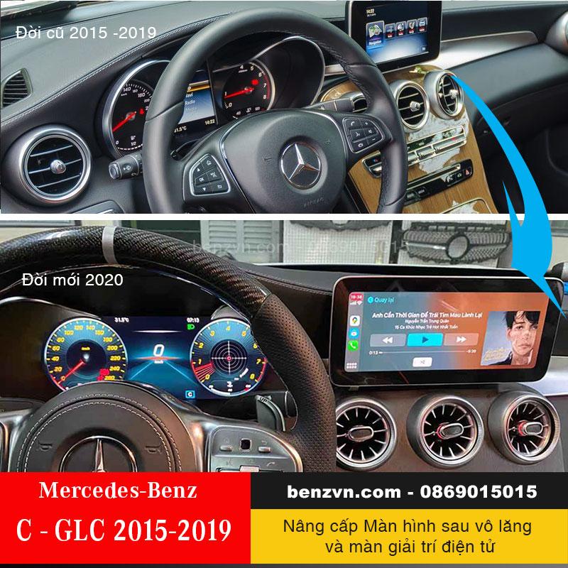 nâng cấp cụm đồ hồ điện từ và màn trung tâm đời mới cho Mercedes-Benz C,GLC 2015-2019