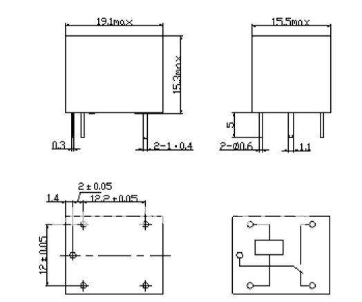 Kich thước Relay 24V 10A 5 Chân SRD 05VDC-SL-C