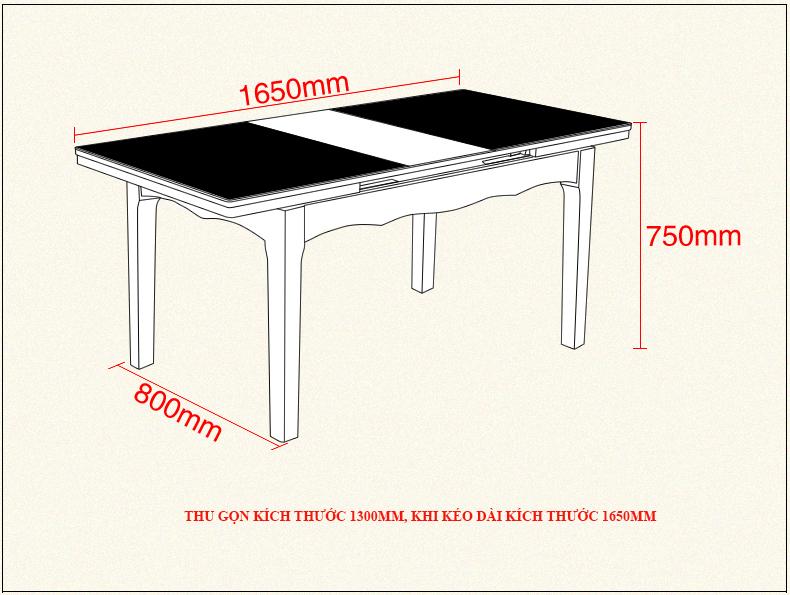 kích thước bàn ăn bếp từ C2016