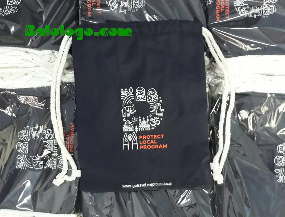 Hình Ảnh Balo Dây Rút In Logo Vải Bố Coton