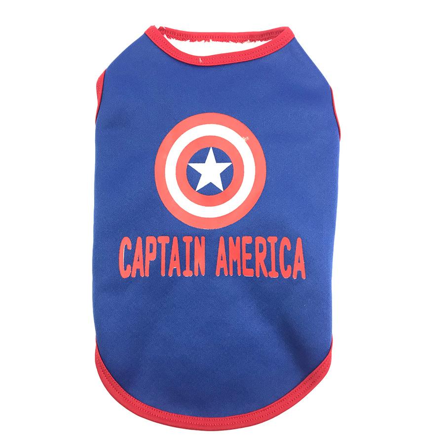 Áo cho chó mèo hình Captain America không tay