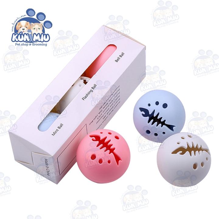 Set 3 quả bóng đồ chơi cho chó mèo (Bóng phát sáng, Bóng chuông, Bóng catnip)