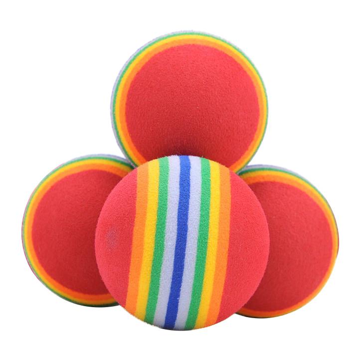 Bóng xốp đồ chơi kẻ 7 màu cho chó mèo
