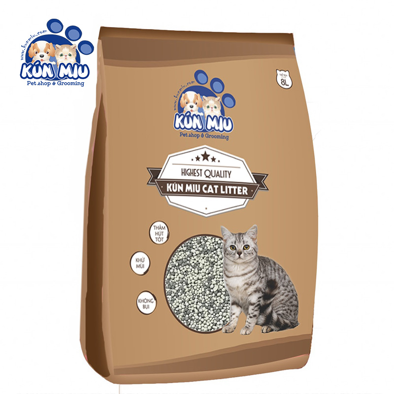 Cát vệ sinh Kún Miu hương Cà Phê 8L - Tinh chất Than hoạt tính và Zeolite cao cấp (KV)