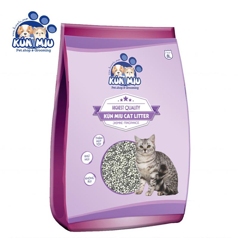 Cát vệ sinh cho mèo Kún Miu hương hoa nhài 8L - Tinh chất Than hoạt tính và Zeolite cao cấp (KV)