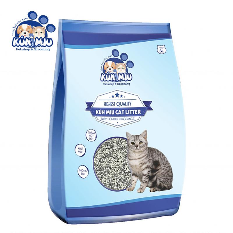 Cát vệ sinh cho mèo Kún Miu hương phấn 8L - Tinh chất Than hoạt tính và Zeolite cao cấp (KV)