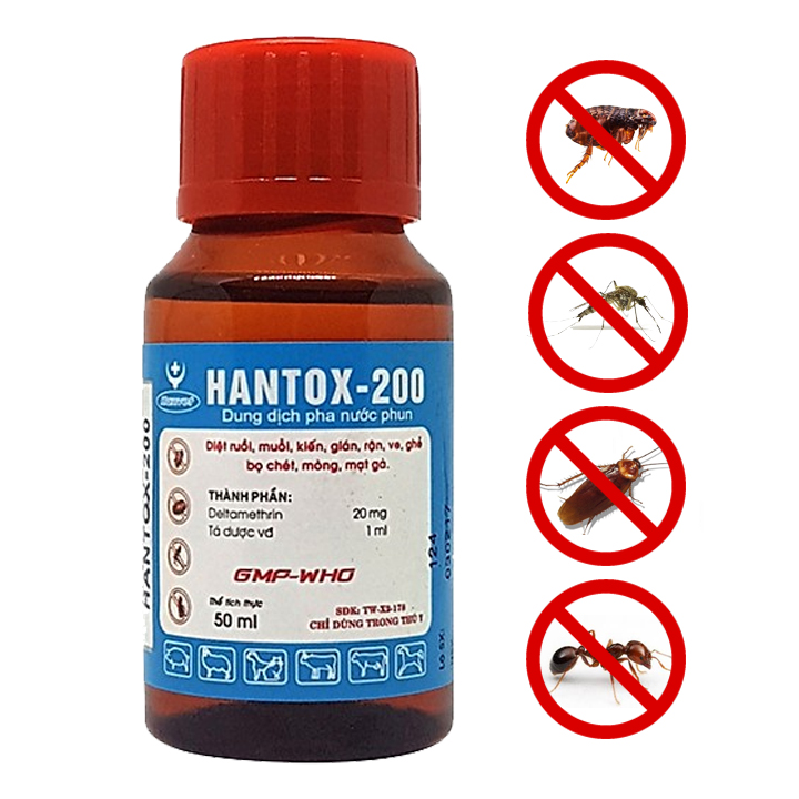 Dung dịch pha nước diệt kiến,gián,ve,rận,bọ chét hantox-200