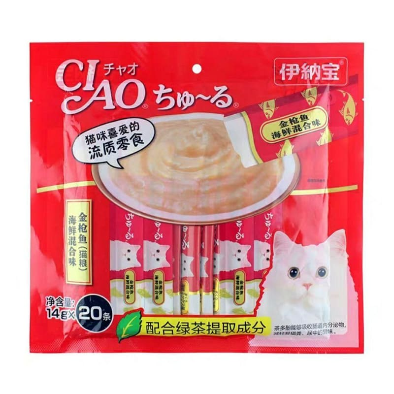 Súp thưởng cho mèo Inaba Ciao Churu vị Cá ngừ + Hải Sản 20 thanh - SC-127C (đỏ)