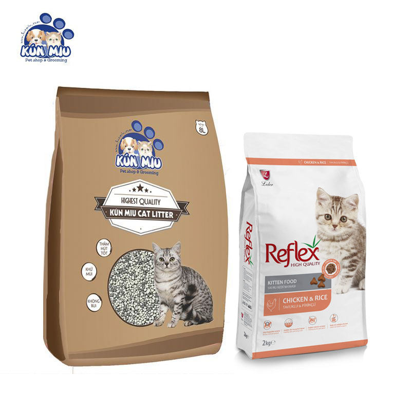 Combo cát vệ sinh cà phê 8L và thức ăn Reflex Kitten 2kg