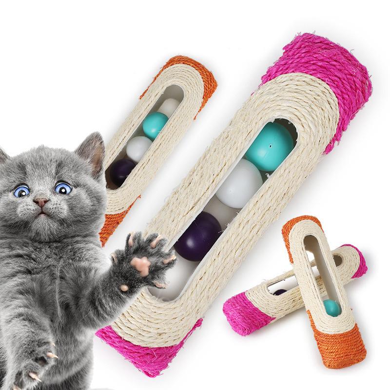 Đồ chơi ống cào móng có bóng cho mèo