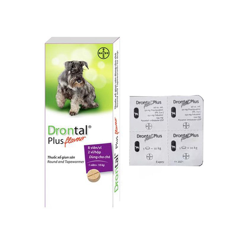 Combo 4 viên thuốc tẩy giun cho chó 10kg Drontal Plus