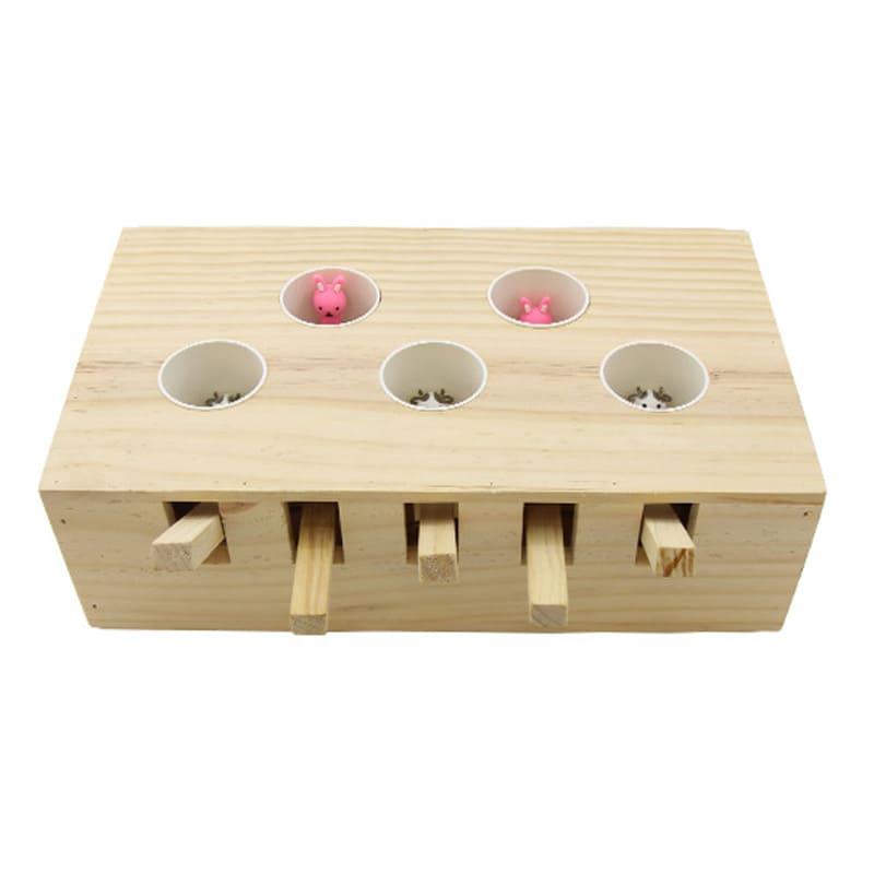 Hộp đồ chơi đập chuột cho mèo bằng gỗ Diil HS071
