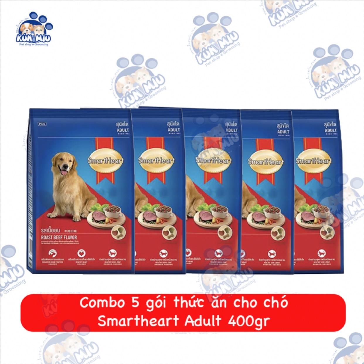 Combo 5 gói Thức ăn cho chó Smartheart Adult 400gr