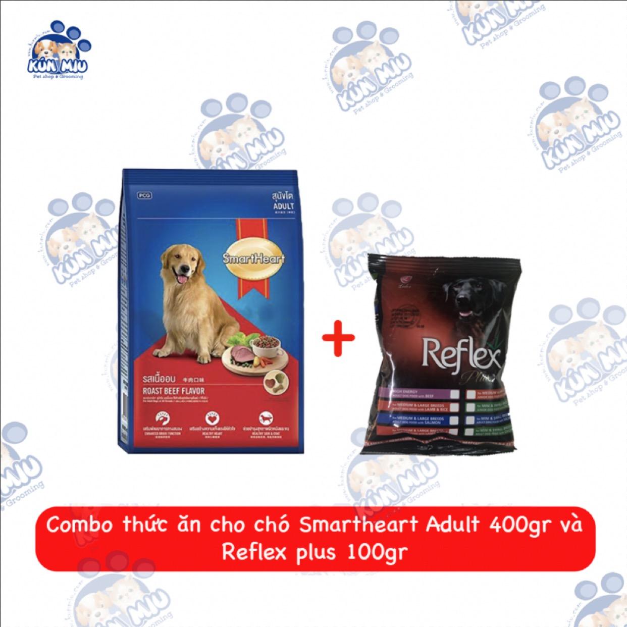 Combo Thức ăn cho chó Smartheart Adult 400g và Reflex 100g