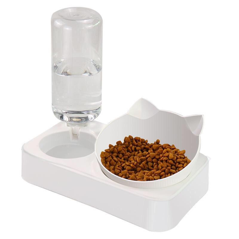 Bát ăn đôi hình đầu mèo kèm bình cấp nước tự động size L (BT)