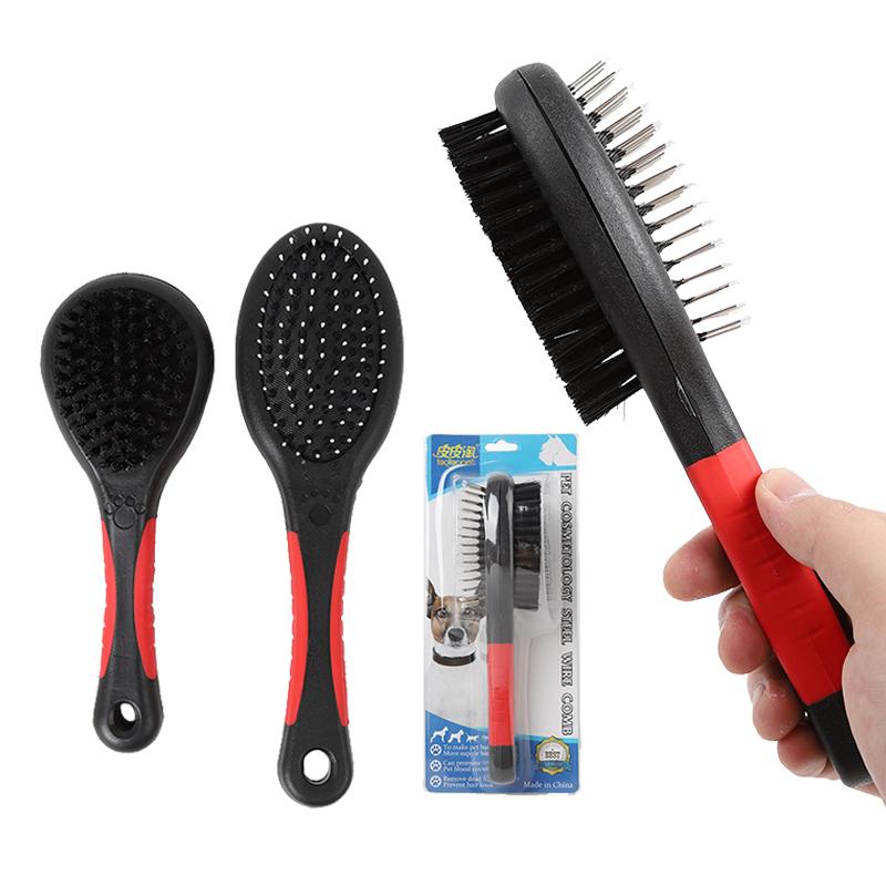 Lược chải lông 2 mặt cán nhựa đen đỏ cho chó mèo (PK)