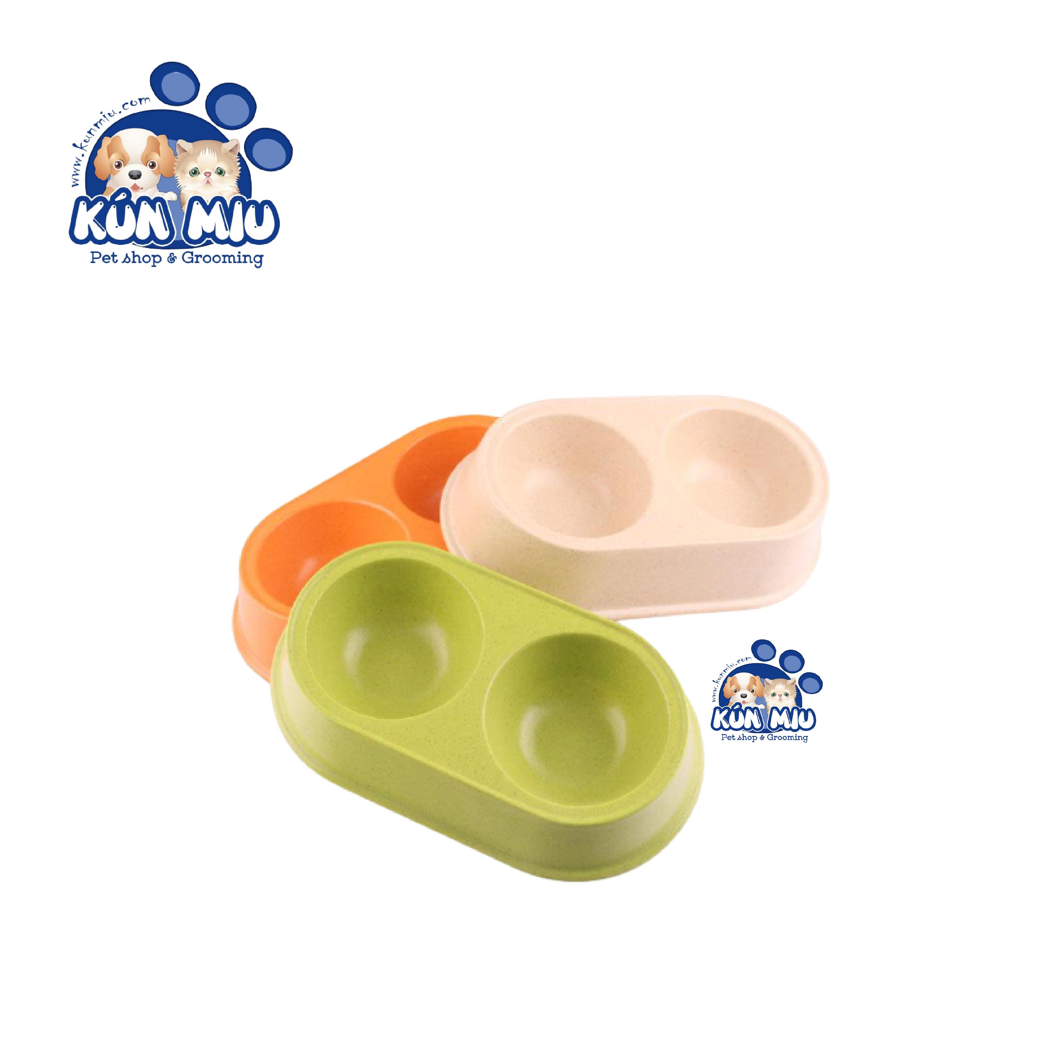 Bát ăn đôi cho chó mèo nhỏ Bobo 3043z ( màu ngẫu nhiên)