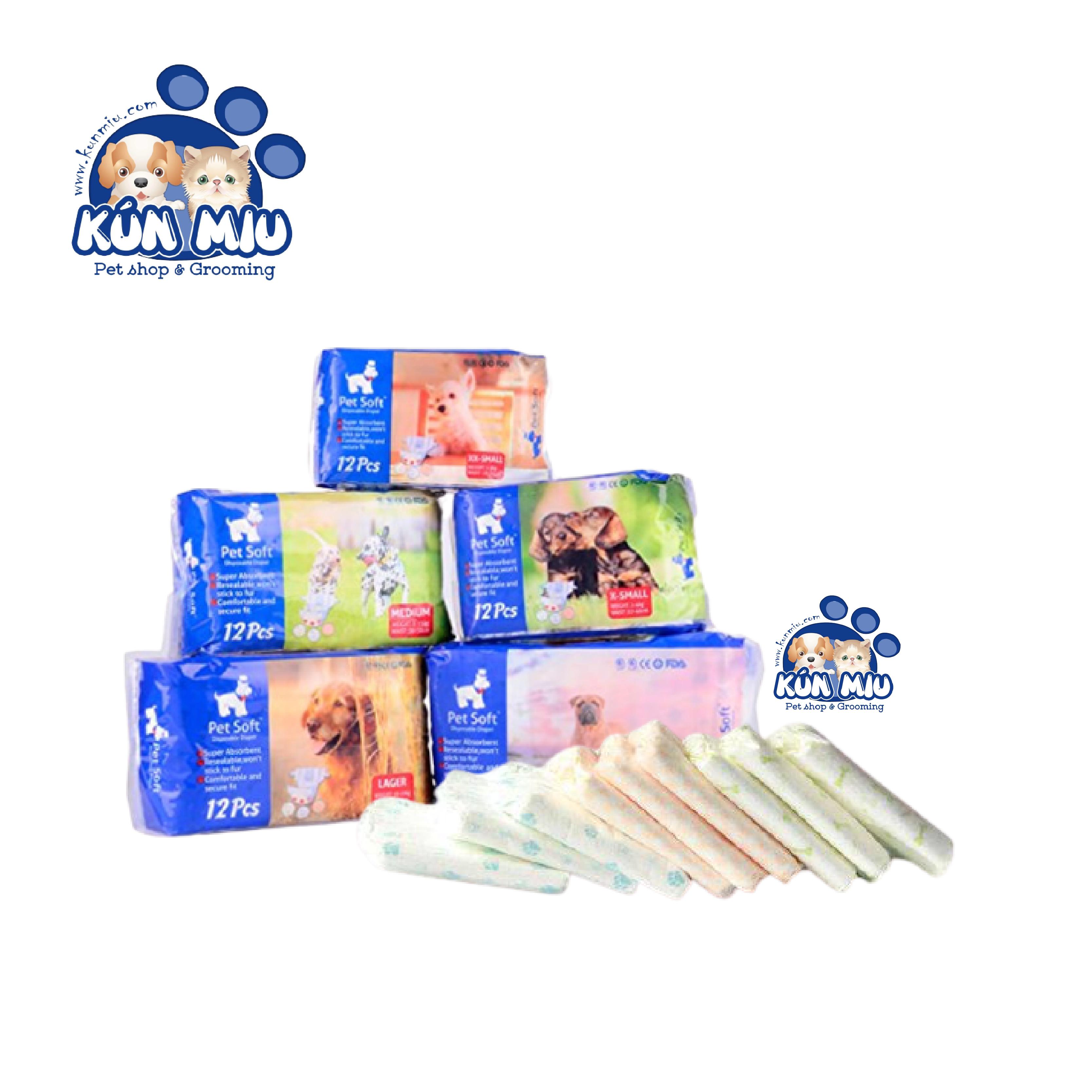 Bỉm vệ sinh cho chó mèo Pet Soft 1 bịch 12 chiếc