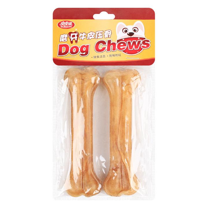 Xương da bò hình khúc xương gặm sạch răng cho chó