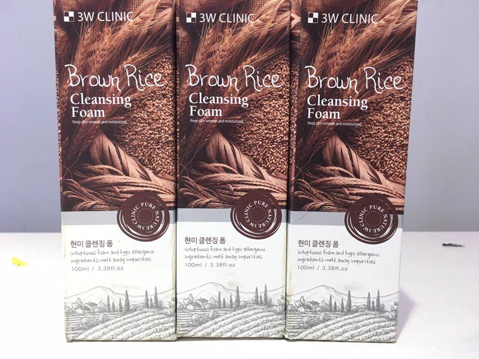 Sữa Rửa Mặt Brown Rice 3W Clinic 100ml (Tuýt)