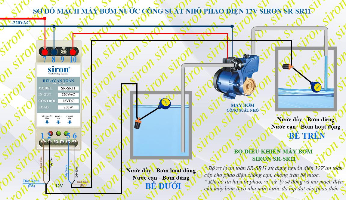 Lắp thêm relay role ro le an toàn chuyển nguồn chống giật cho phao điện máy bơm nước gia đình công suất nhỏ
