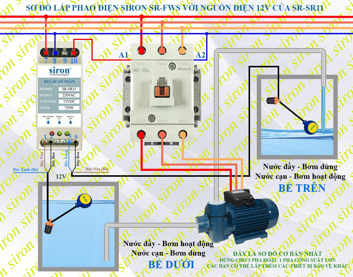 Sơ đồ lắp phao điện relay chuyển nguồn cho máy bơm nước 3 pha dùng khởi động từ