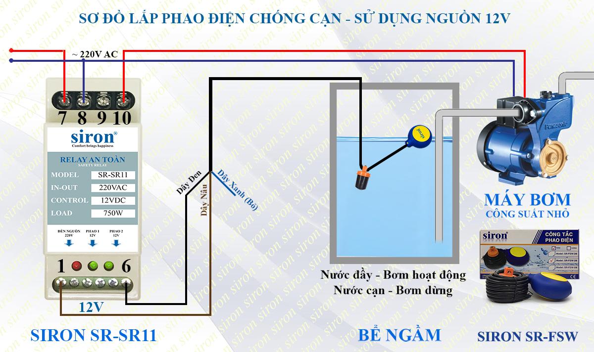 Lắp phao điện cho máy bơm nước bể bồn inox trên mái nhà chống cạn tràn giật chuyển nguồn phao điện