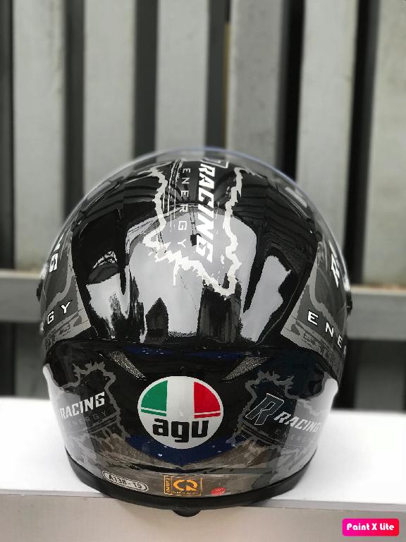 ( freeship bảo hành 24 tháng ) mũ nón AGU tem Racing energy Xám ghi (hàng chính hãng)