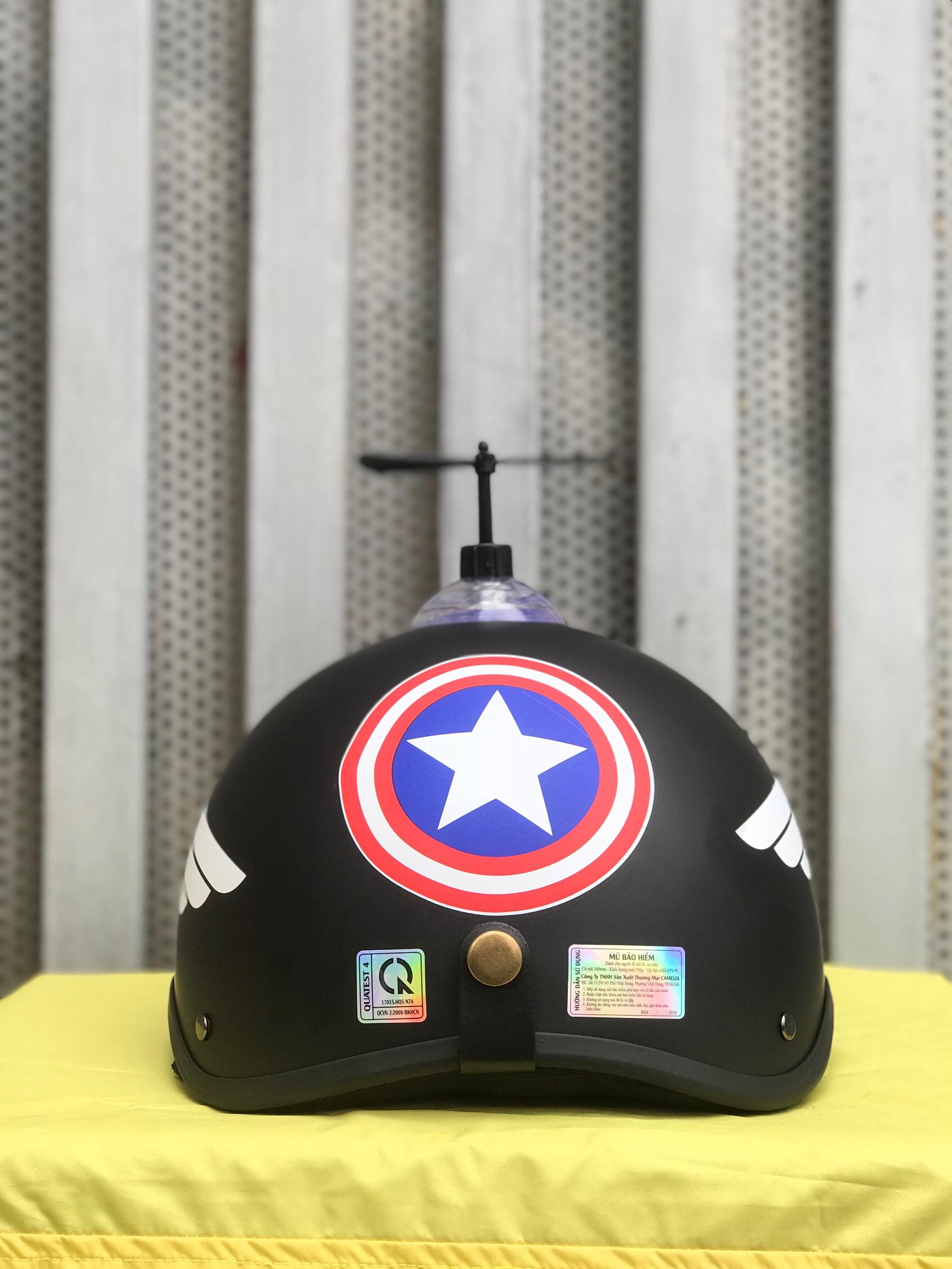 (HOT HIT) Mũ bảo hiểm 1/2 CAPTION Captain american +KÍNH PHI CÔNG+CHONG CHÓNG