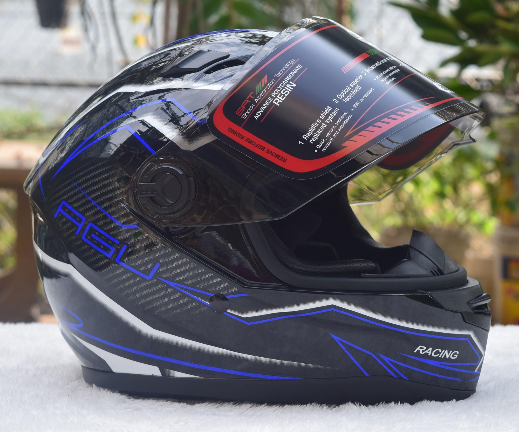 Mũ bảo hiểm fullface AGU họa tiết GT Air sọc xanh nước biển