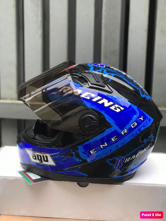 ( freeship bảo hành 24 tháng ) mũ nón AGU tem Racing energy Da cam (hàng chính hãng)
