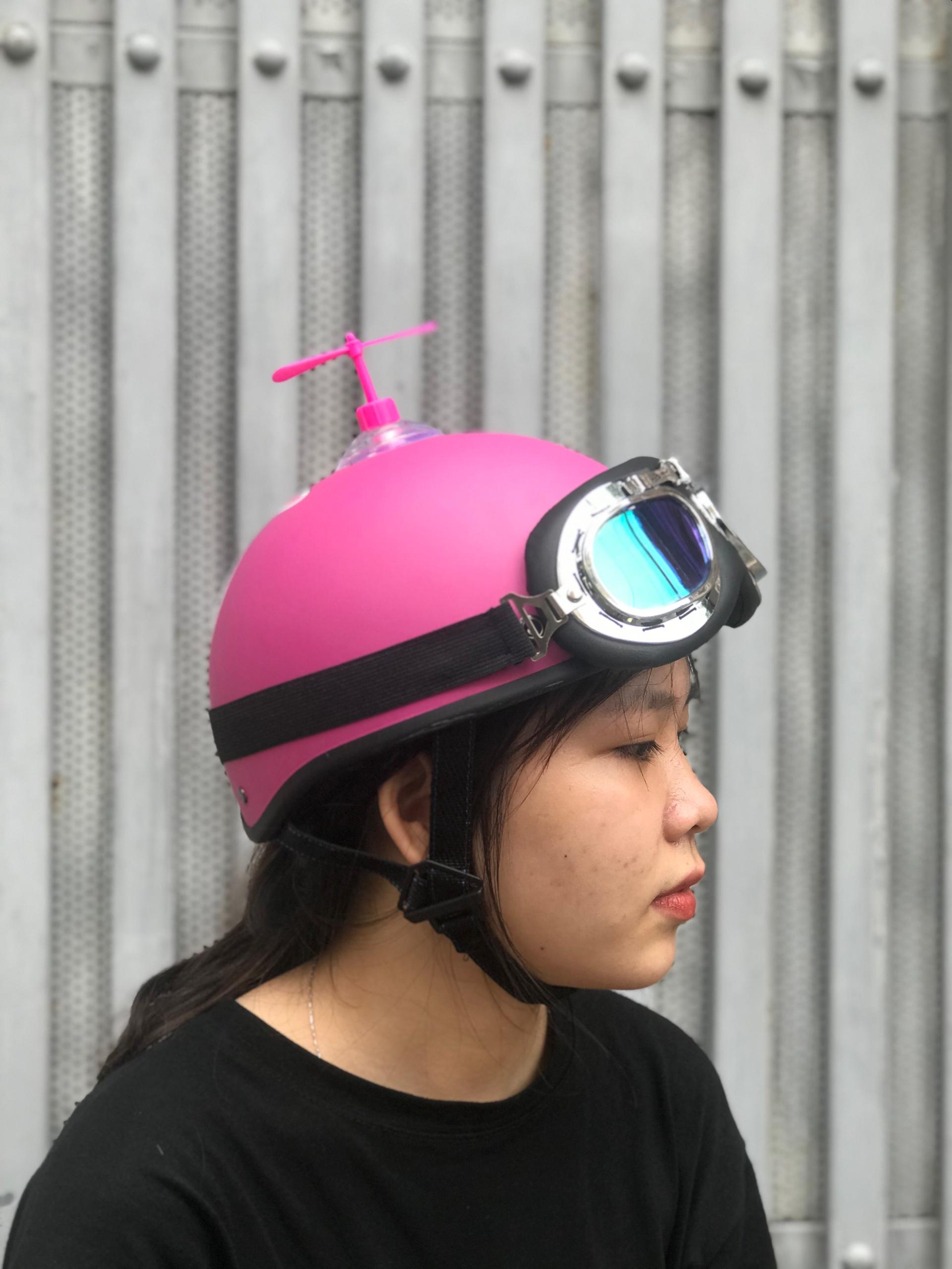 Mũ Bảo Hiểm 1/2 Bopa Tem Phượt - Thỏ hồng