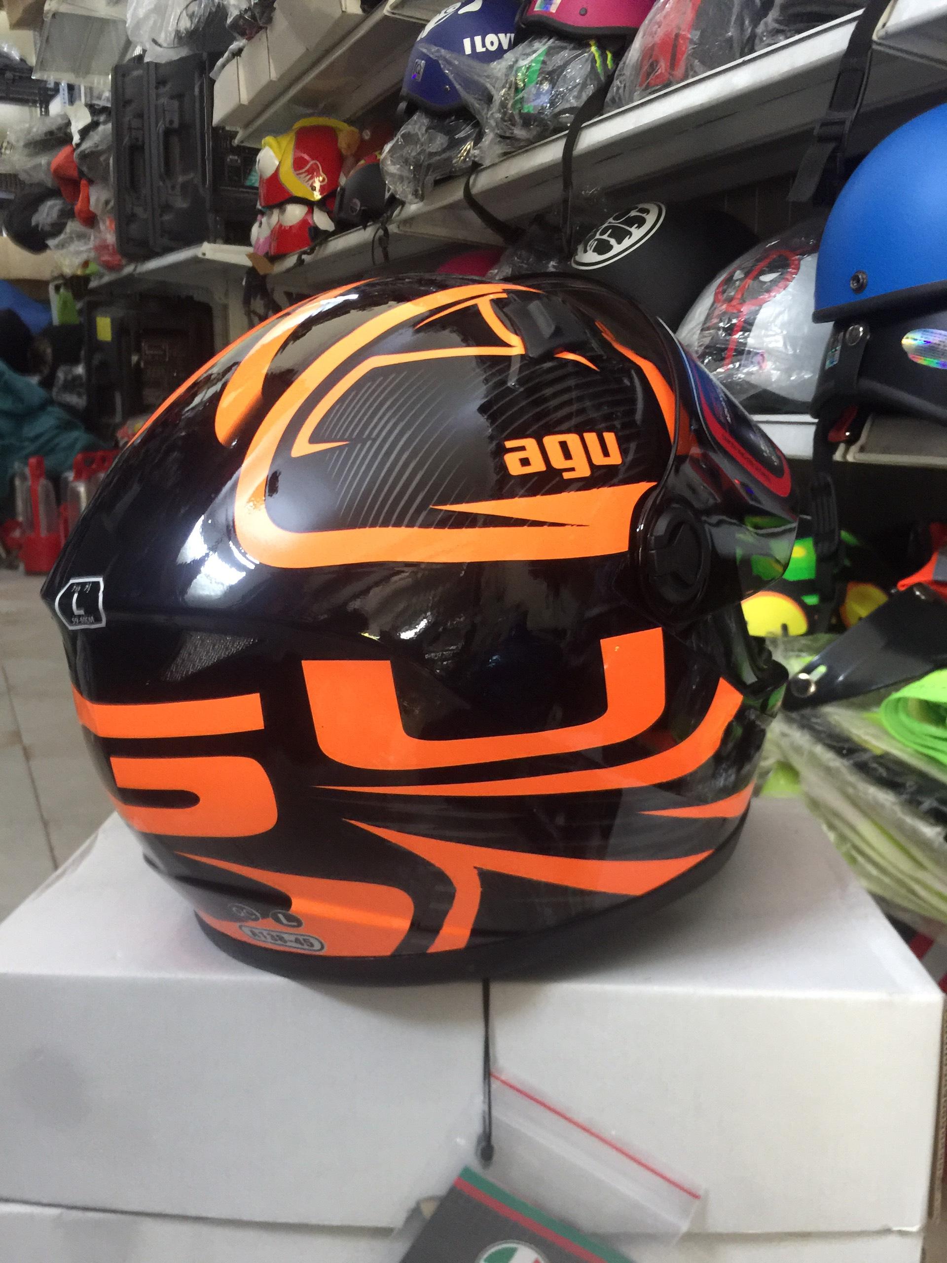 Miễn phí vận chuyển Mũ Bảo Hiểm AGU Fullface tem avenger da cam trẻ trung năng động hàng chính hãng có tem kiểm định
