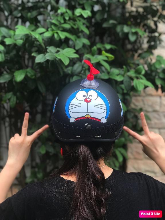 (HOT HIT) Mũ bảo hiểm 1/2 DORAEMON ĐEN+KÍNH PHI CÔNG+CHONG CHÓNG