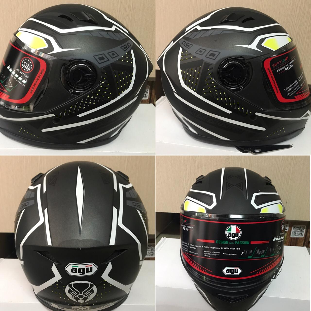 Mũ bảo hiểm fullface AGU tem phản quang họa tiết đối xứng kẻ đen trắng (hàng chính hãng)