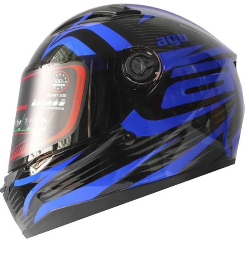 Miễn phí vận chuyển Mũ Bảo Hiểm AGU Fullface tem avenger xanh nước biển hàng chính hãng có tem kiểm định